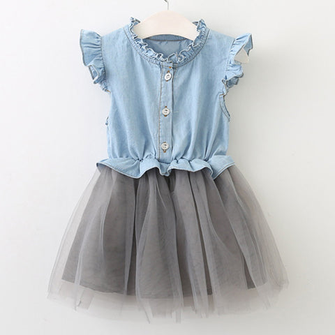 Toddler Girl's Denim Short Sleeve and Gray Tulle Dress 3-5T - Bonjour Bear