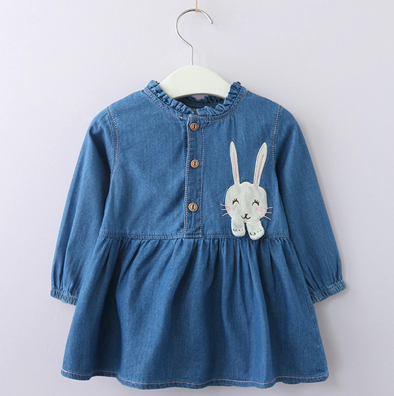Toddler Girl's Denim Rabbit Long Sleeve Dress - Bonjour Bear 3T to 5T