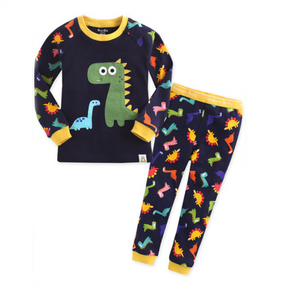 Dino Fun Long Sleeve Korean Pajamas for Toddler Boys 12M-3T - Bonjour Bear