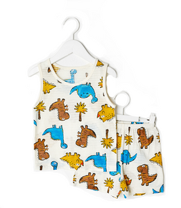 Dino Park Thin Lightweight Sleeveless Korean Pajamas for Toddler Boys 12M-5T - Bonjour Bear