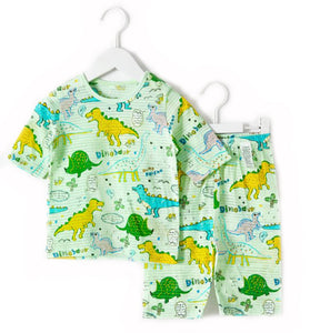 Green Yellow Dino Sketch Thin Lightweight Short Sleeve Korean Pajamas 12M-3T - Bonjour Bear