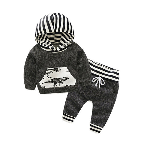 Dark Gray Dinosaur Striped Long Sleeve Hoodie and Pants Set for Baby and Toddler Boys 9M-2T - Bonjour Bear