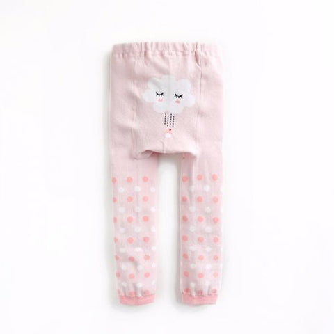 Baby & Toddler Girl Cloudy Rain Dots Pink Tights - Bonjour Bear 10-24M