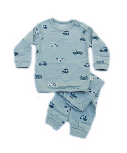 Teal Blue Green Echo Car Organic Lightweight Long Sleeve Korean Pajamas for Toddler Boys 12M-3T - Bonjour Bear