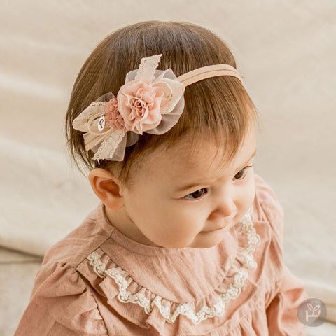 Girl's Espoir Pink Flower Ribbon Lace Hairband