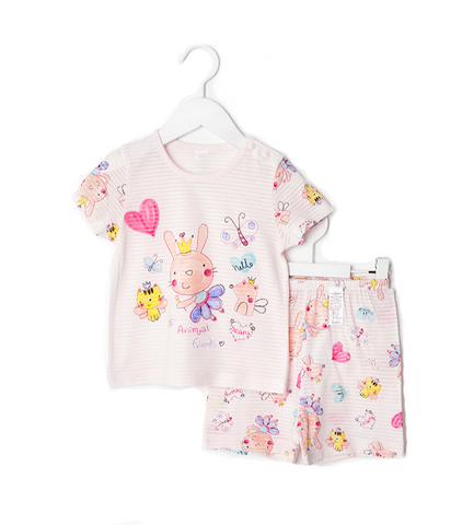 Pink Fairy Bunny Rabbit Thin Lightweight Summer Short Sleeve Korean Pajamas for Toddler Girls 12M-5T - Bonjour Bear