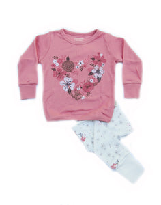 Pink Flower Garden Organic Long Sleeve Korean Pajamas for Toddler Girls 2-4T - Bonjour Bear