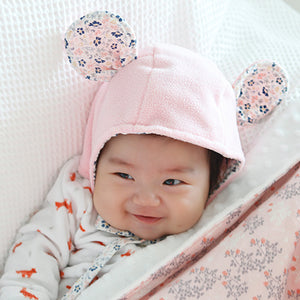 Pink Flower Mouse Bonnet - Bonjour Bear NB to 4Y