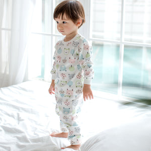 Pastel Forest Animals Long Sleeve Korean Pajamas for Baby and Toddler Girls and Boys 6M-2T - Bonjour Bear