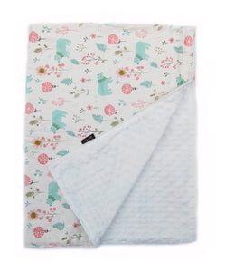 Warm Cotton Microfiber Forest Garden Baby Blanket - Bonjour Bear