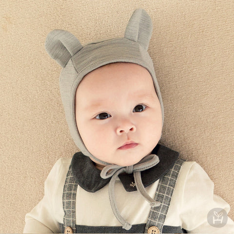 Gray Bear Animal Ears Four Season Pilot Hat for Baby Girls and Boys 0-12M - Bonjour Bear