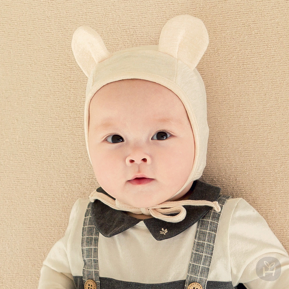 Cream White Bear Animal Ear Four Season Pilot Hat for Baby Girls and Boys 0-12M - Bonjour Bear