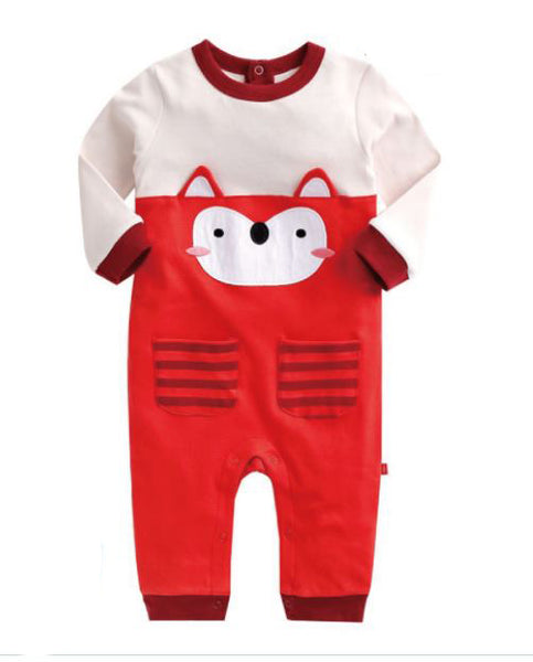 Red Foxie Long Sleeve Onesie for Baby Girls and Boys 12M - Bonjour Bear