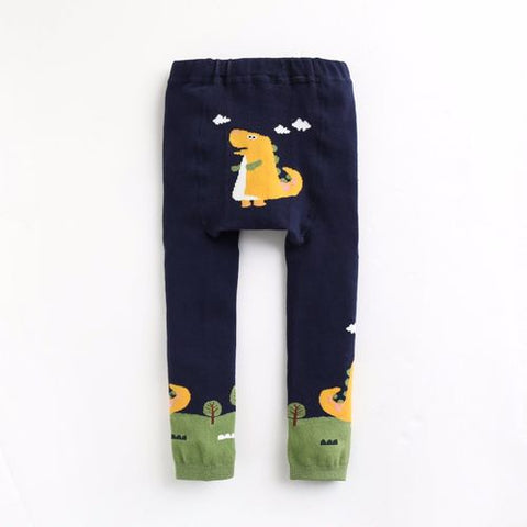 Baby & Toddler Navy Blue Yellow Fun Fun Dino Tights Leggings - Bonjour Bear 10-24M
