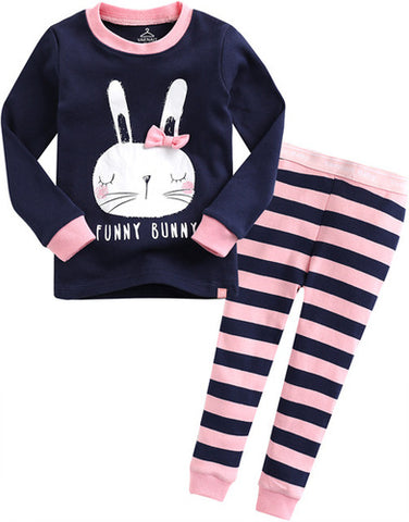Toddler Girl's Funny Bunny Rabbit Navy Blue Pink Striped Korean Long Sleeve Pajamas 12M to 5T - Bonjour Bear