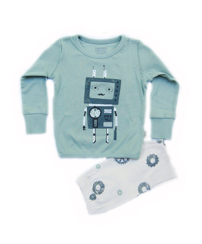 Gentle Robot Green Organic Long Sleeve Korean Pajamas for Toddler Boys 2-4T - Bonjour Bear