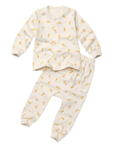 Giraffe Organic Button Down Korean Pajamas for Baby Girls and Boys 9M - Bonjour Bear