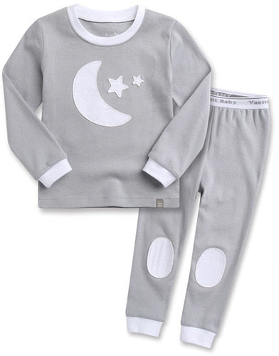 Toddler Girl's and Boy's Goodnight Moon and Star Gray White Long Sleeve Pajamas 12M to 5T - Bonjour Bear