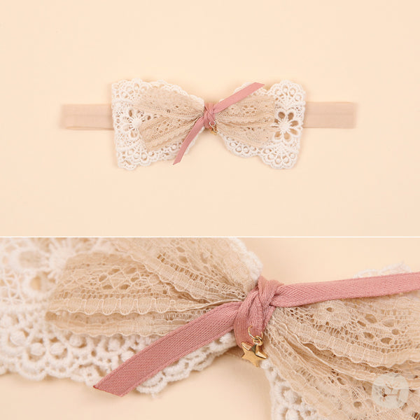 Infant and Toddler Grace Cream Lace Bow Hairband - Happy Prince