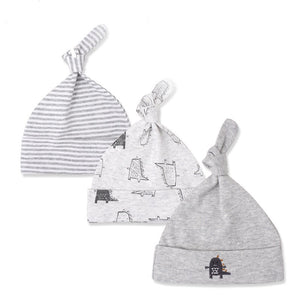 Baby Infant Boy's Gray Dinosaur Striped Baby Beanie Hat Set 0-6M - Bonjour Bear