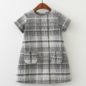 Toddler Girl's Gray Plaid Tweed Pocket Short Sleeve Dress for Toddler Girls 4-5T - Bonjour Bear
