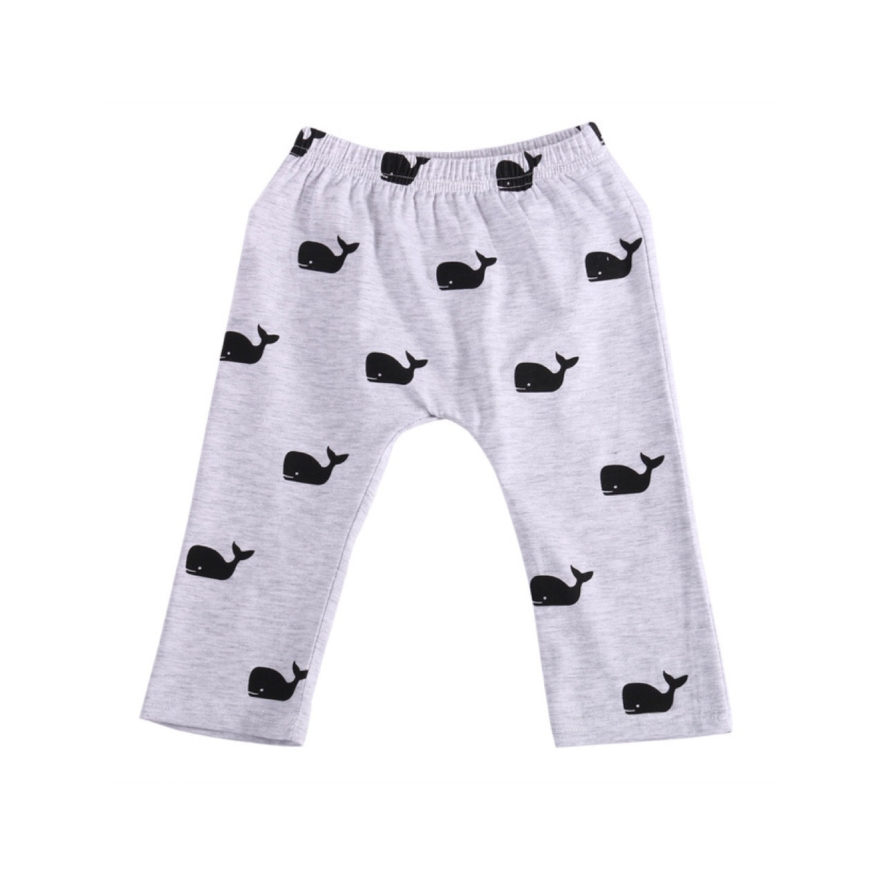 Gray Black Whale Long Pants for Baby and Toddler Boys 3-24M - Bonjour Bear
