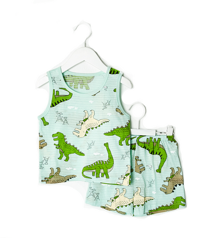 Green Dino Thin Lightweight Summer Sleeveless Korean Pajamas for Toddler Boys 12M-5T - Bonjour Bear