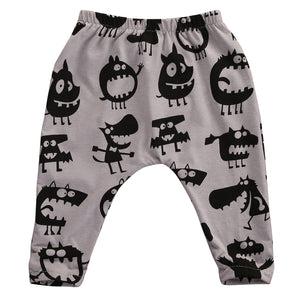 Grey Black Monster Long Pants for Baby and Toddler Boys 0-18M - Bonjour Bear