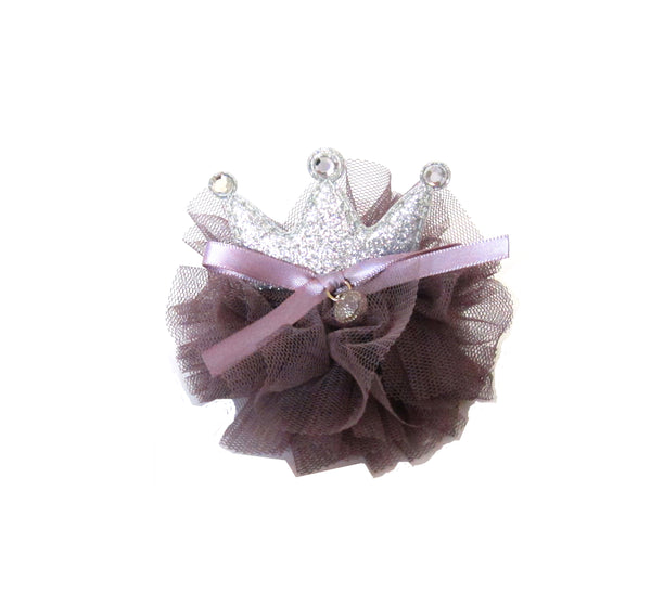 Toddler Girl's Purple Crown Glitter Hair Pin - Bonjour Bear