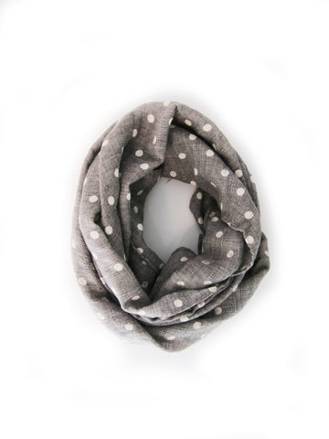 Toddler Girl's Polka Dot Scarf Gray - Bonjour Bear