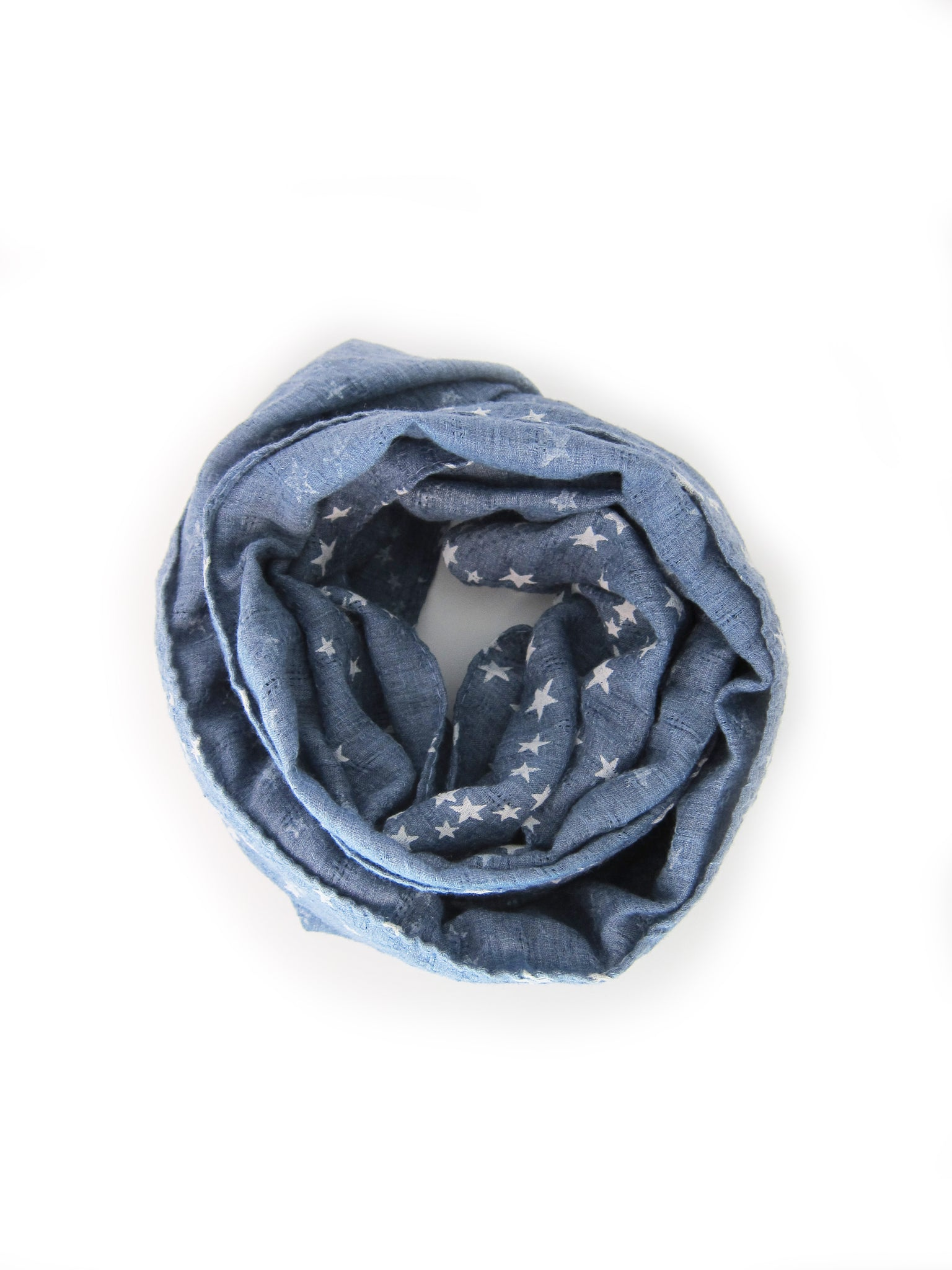 Toddler Girl Star Scarf Blue Denim - Bonjour Bear