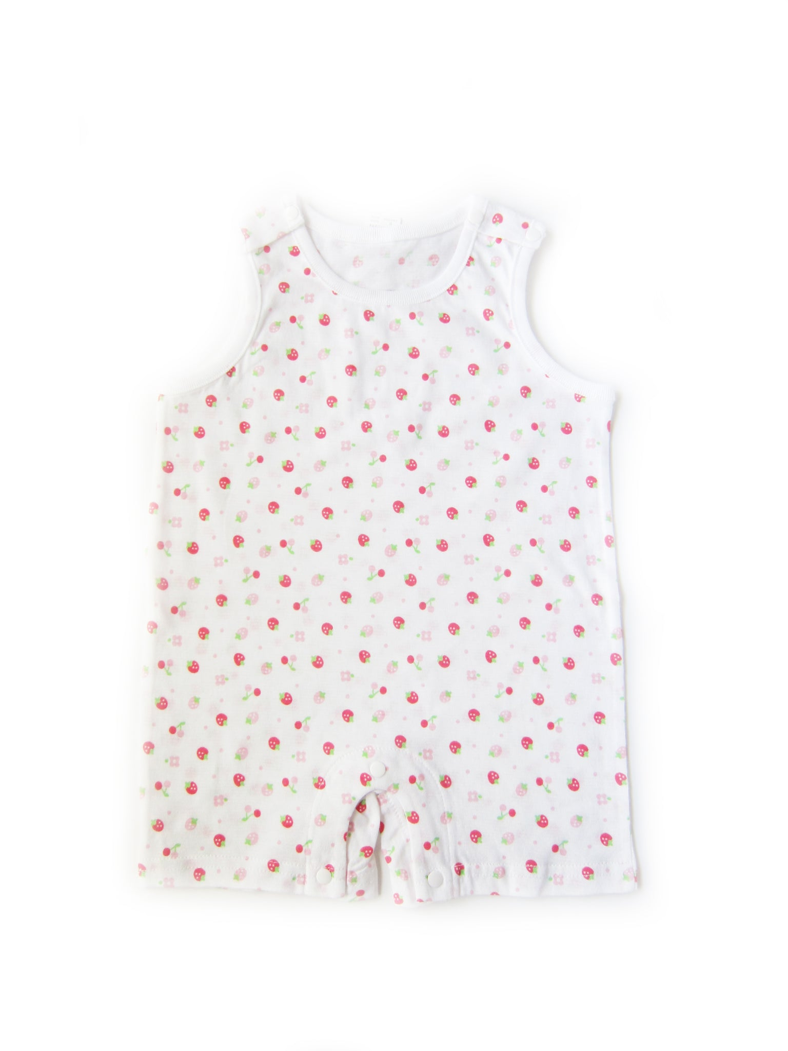 Baby Girl's Pink and Red Strawberry Sleeveless Onesie - Bonjour Bear NB to 12M