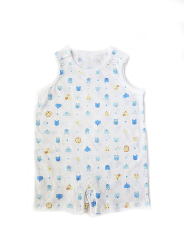 Blue Animal Face Print Thin Lightweight Summer Sleeveless Korean Onesie for Baby Boys 0-12 Months - Bonjour Bear