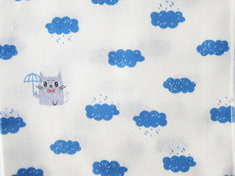 Blue Rainy Clouds and Kitties Korean Cotton Baby Burp Cloth - Bonjour Bear