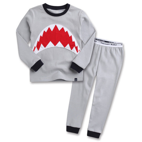 Toddler Boy's Gray Jaws Shark Long Sleeve Korean Pajamas for Toddler Boys - Bonjour Bear 12M to 5T