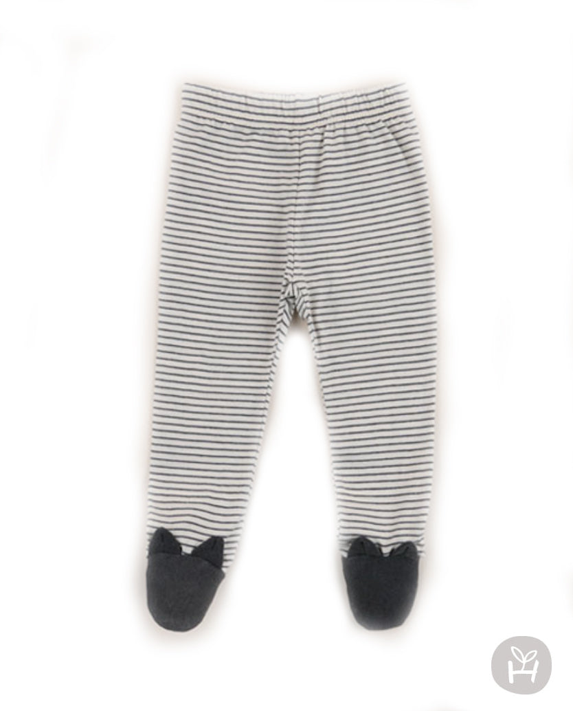 Jinko Animal Face Charcoal Dark Gray Striped Footed Pants Leggings for Baby Boys and Girls 3-18M - Bonjour Bear