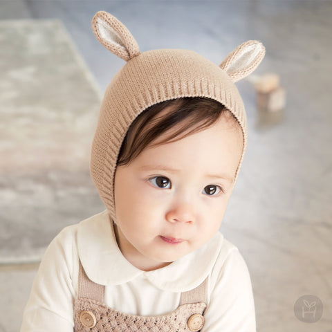 Judis Beige Animal Ears Bonnet for Baby Girls and Boys 0-12M - Bonjour Bear