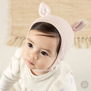 Judis Pink Animal Ears Bonnet Hat for Baby Girls 0-12M - Bonjour Bear