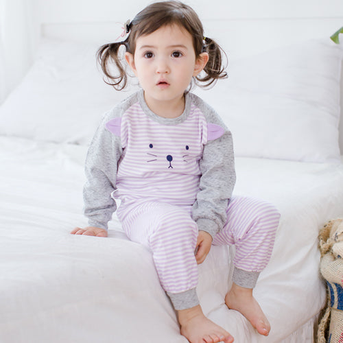 Baby and Toddler Girl's Purple Kitty Cat Long Sleeve Pajamas - Bonjour Bear 6M to 2T