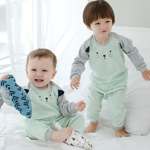 Mint Green Striped Kitty Cat Long Sleeve Korean Pajamas for Baby and Toddler Boys 6M-2T- Bonjour Bear