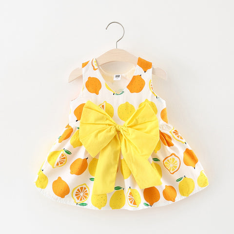 Baby Girl's Yellow Orange Lemon Bow Sleeveless Dress for Baby and Toddler Girls 6-24M - Bonjour Bear