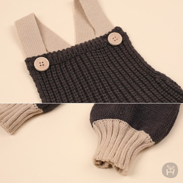 Boy's Liam Dark Gray Knit Overalls - Happy Prince