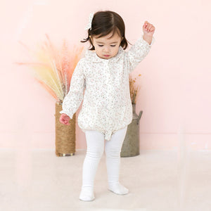 Baby and Toddler Girl's Lilian Floral Long Sleeve Bodysuit - Littletini Bonjour Bear