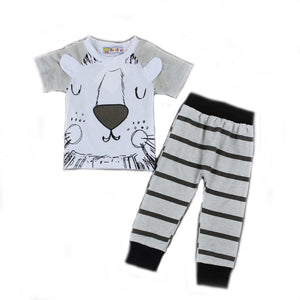Gray Black Striped Lion's Short Sleeve T-Shirt and Long Pants Set for Baby Boys 3-18M - Bonjour Bear