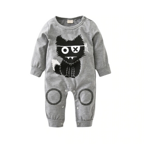Baby Infant Boy Little Monster Gray Long Sleeve Bodysuit Onesie - Bonjour Bear 3M to 18M