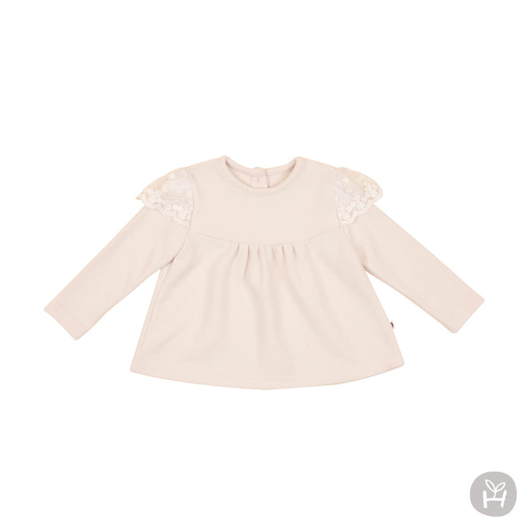 Girl's Loa Lace Cream Long Sleeve Shirt - Happy Prince