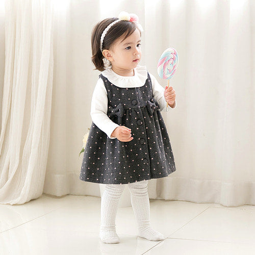 Baby and Toddler Girl's Lolo Gray Polka Dot Dress - Littletini Bonjour Bear