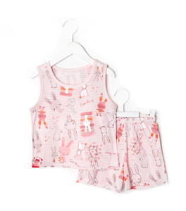Lovely Rabbit Pink Thin Lightweight Summer Sleeveless Korean Pajamas for Toddler Girls 12M-5T - Bonjour Bear