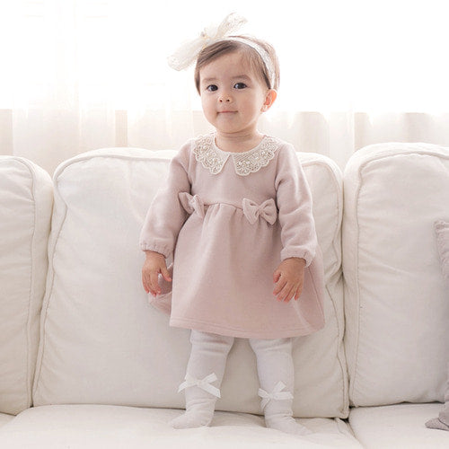 Baby and Toddler Girl's Madeleine Bow Long Sleeve Dress - Littletini Bonjour Bear