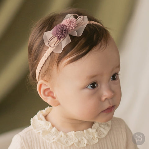 Infant and Toddler Maple Pink Chiffon Flower Hairband - Happy Prince